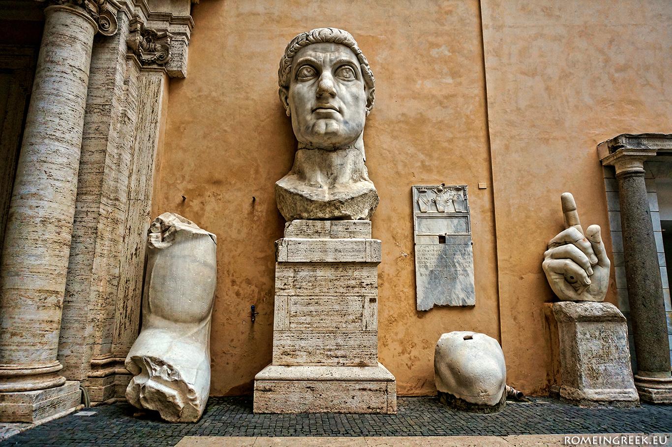 Μέρη από το κολοσσιαίο αγαλμα του Μ. Κωνσταντίνου