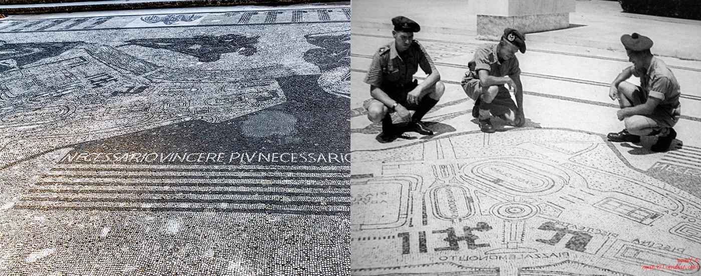 Χτες και σήμερα. Βρετανοί στρατιώτες μελετούν τον ψηφιδωτό χάρτι του Φόρο Μουσολίνι