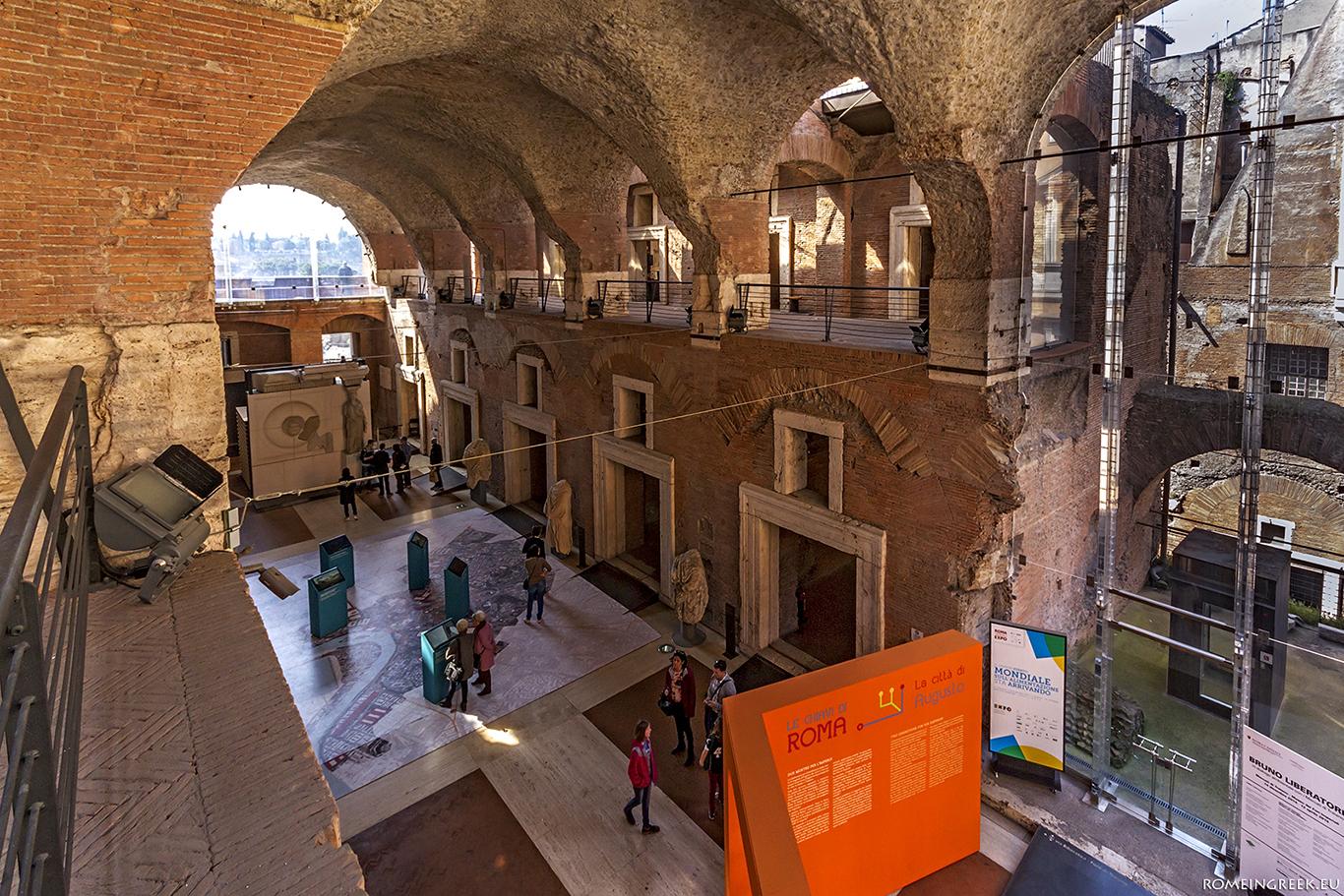 Μουσείο των Αυτοκρατορικών Αγορών. Διακρίνονται οι 6 θόλοι της οροφής της Μεγάλης Αίθουσας.