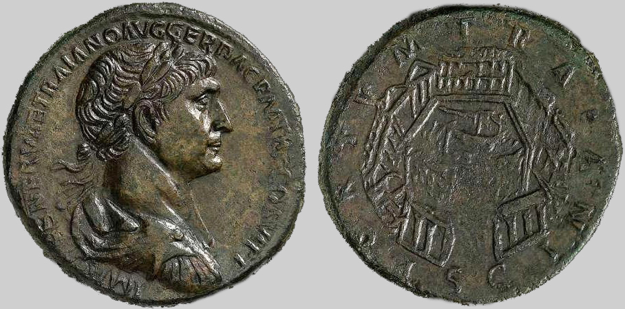 Σηστέρτιο του 112 μ.Χ. με τον Τραϊανό και το λιμάνι.