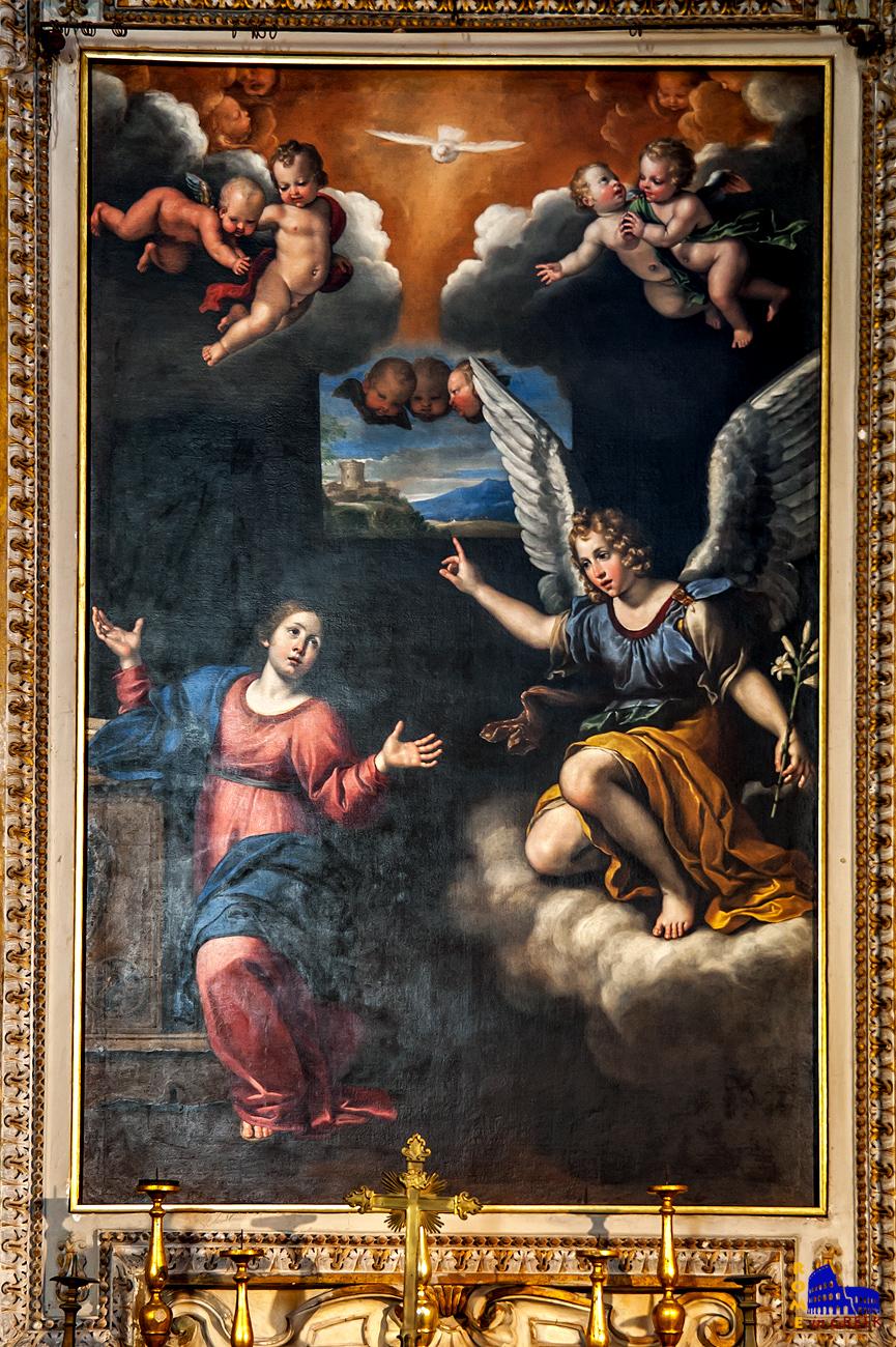 Alessandro Fortuna: «Ευαγγελισμός». Μαθητής του Domenichino, θα πεθάνει σε ηλικία 23 ετών. Είναι το μόνο γνωστό έργο του, σίγουρα βασισμένο σε σχέδιο του δασκάλου του.