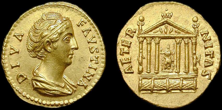 Χρυσό νόμισμα με την Φαυστίνα και τον ναό. Στην πραγματικότητα το άγαλμά της βρίσκονταν στο εσωτερικό.