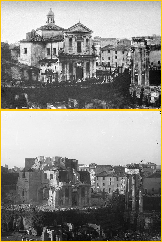 Η Santa Maria Liberatrice πριν και κατά την διάρκεια της κατεδάφισής της. Από κάτω της βρίσκεται η Santa Maria Antiqua. Διακρίνεται η υψομετρική διαφορά, με την μάζα χώματος που κάλυπτε πριν έναν αιώνα την Ρωμαϊκή Αγορά.