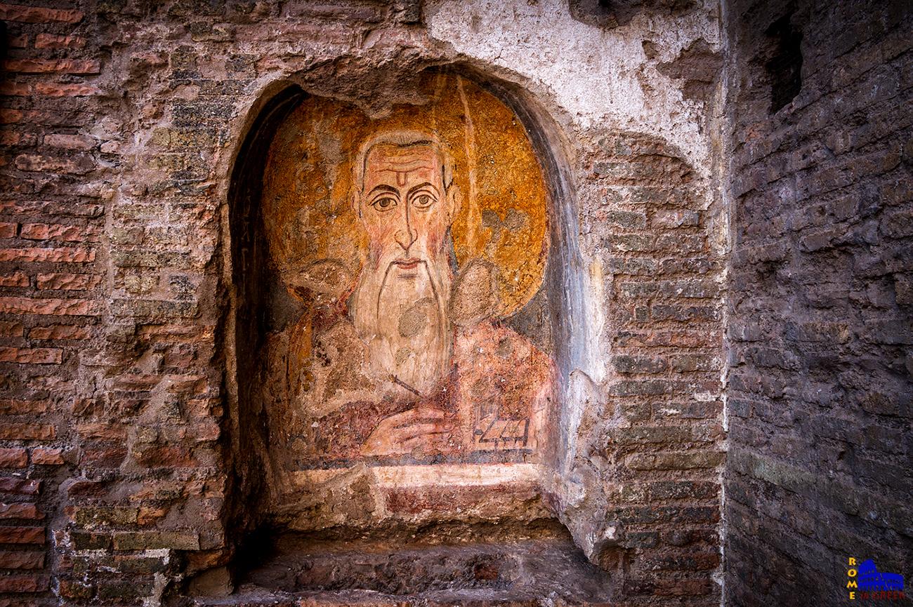 Ο Άγιος Αββάκυρος, κρατώντας χειρουργικά εργαλεία (περ. 757 μ.Χ.)