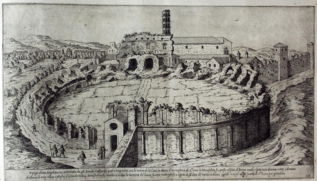 Το αμφιθέατρο σε γκραβούρα του 16ου αι. Στο βάθος το κωδωνοστάσιο της βασιλικής του Τιμίου Σταυρού.