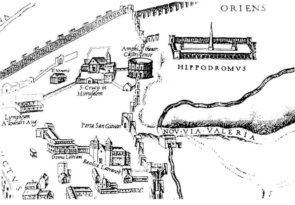 Τμήμα χάρτη του 1561. Από τα αριστερά διακρίνεται ένας ναός της Αφροδίτης που ακόμη δεν έχει βρεθεί (Τ.Veneris), η βασιλική του Τίμιου Σταυρού, το αμφιθέατρο και ο ιππόδρομος. Στο κάτω τμήμα σημειώνεται το σύμπλεγμα του Λατερανού.