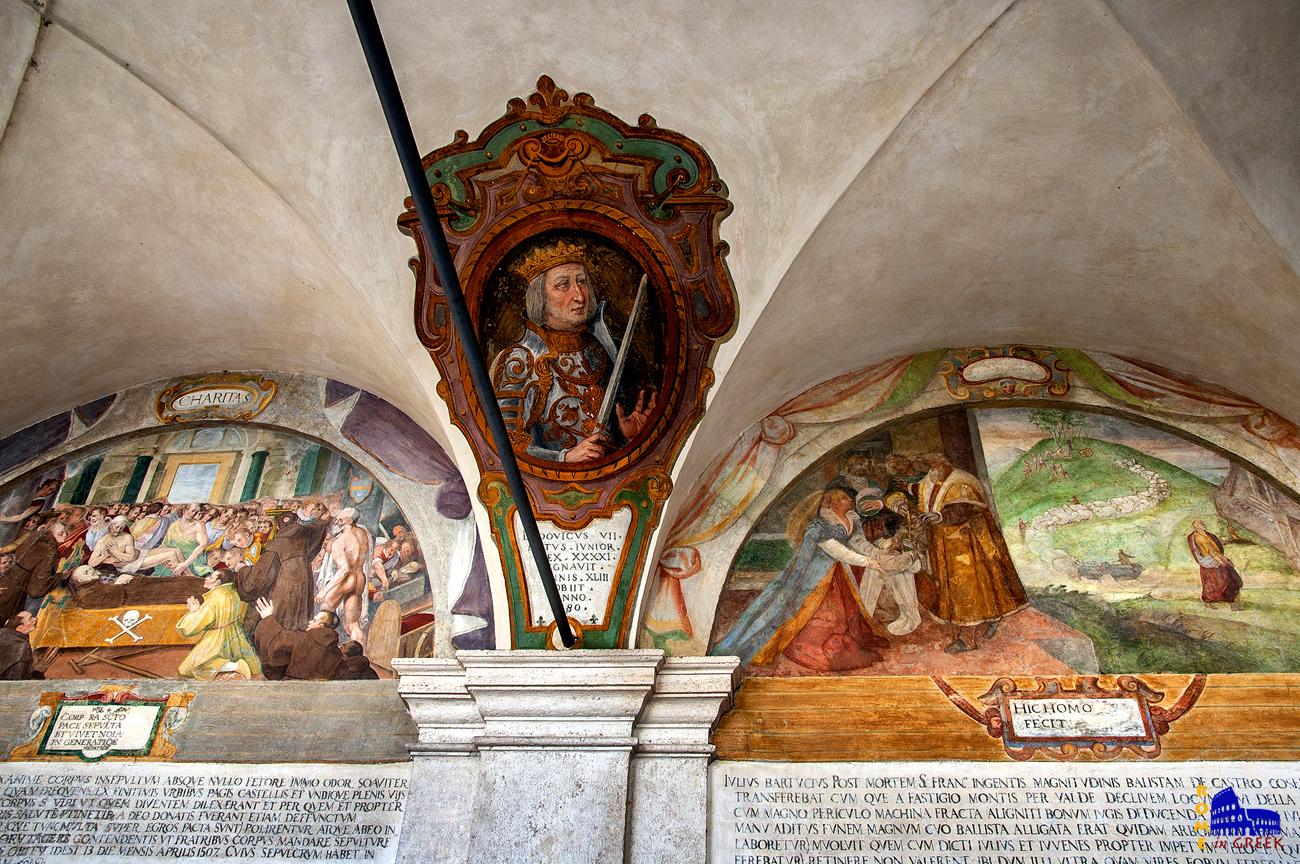 Δύο σκηνές από την ζωή του Άγιου Φραγκίσκου ντα Πάολα. Στο κέντρο πορτραίτο του Λουδοβίκου Ζ΄, επονομαζόμενου «Νέου» (Junior)