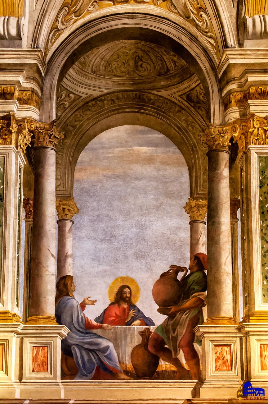 Ο Χριστός την στιγμή της μετατροπής του νερού σε κρασί.