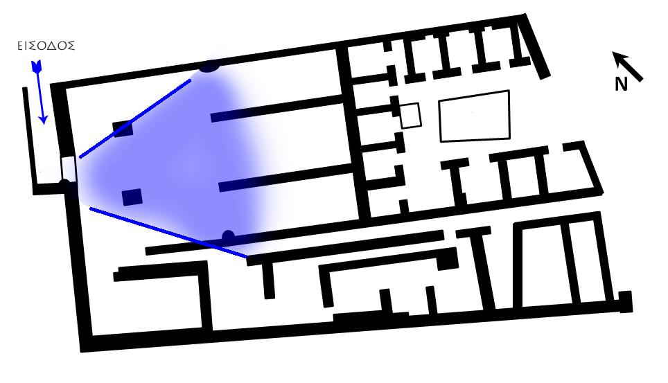 Σχέδιο της οικίας της Λιβίας. Με μπλε απόχρωση το τμήμα που απεικονίζεται στην επόμενη φωτογραφία.