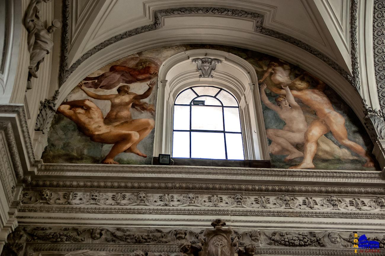 Τοιχογραφίες του Ρόσο Φιορεντίνο στο παρεκκλήσι Cesi. Αριστερά η «Δημιουργία της Εύας», δεξιά το «Προπατορικό αμάρτημα». Διακρίνεται η επιρροή από την «Γένεση» του Μιχαήλ Άγγελου.