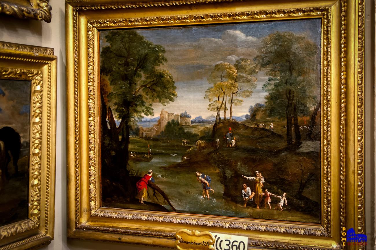 Domenichino, «Τοπίο με διάβαση ποταμού» (1607)