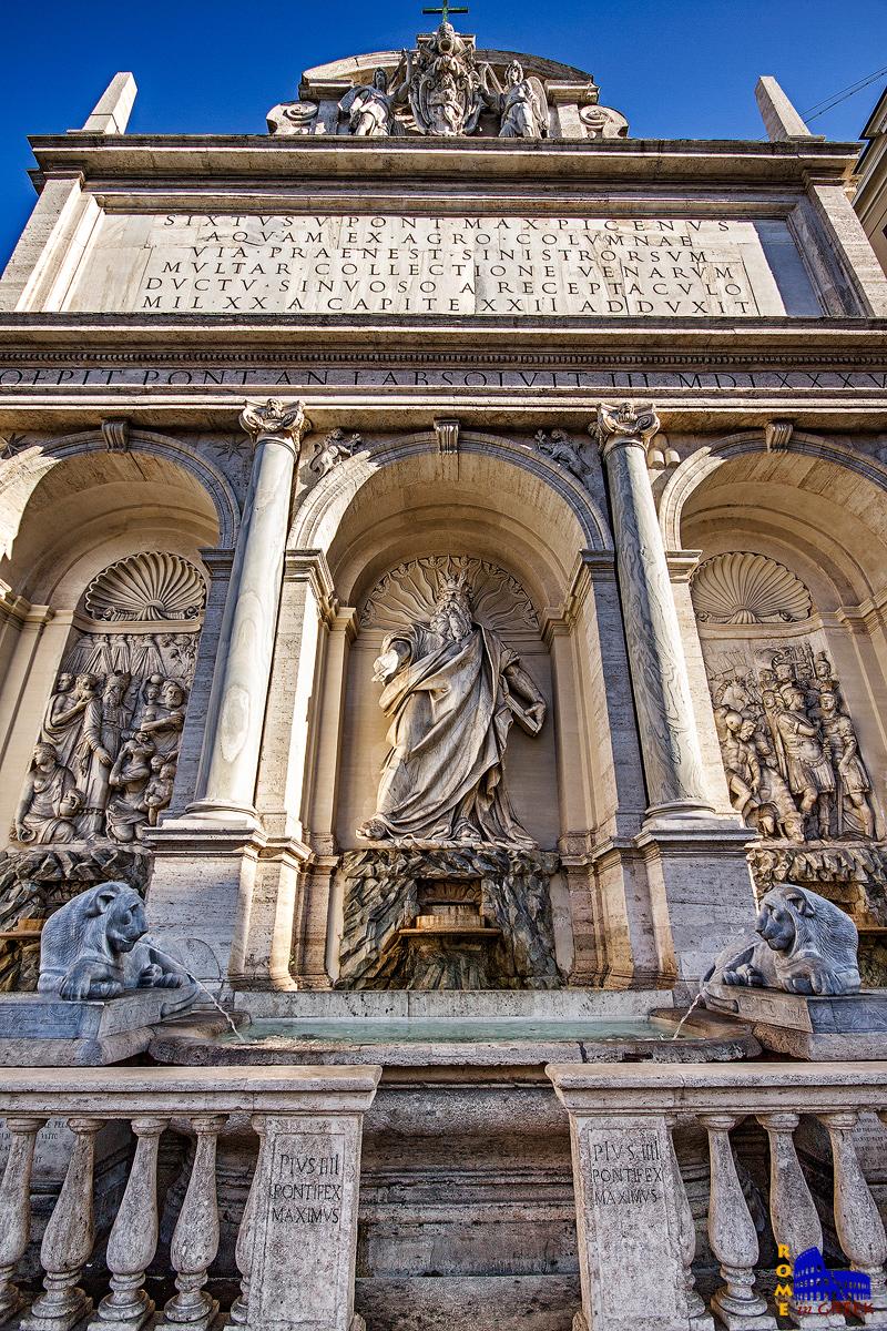 Η Fontana dell'Acqua Felice, ή αλλιώς «η Κρήνη του Μωυσή». Σηματοδότησε την κατάληξη του υδραγωγείου Acqua Felice (1585-1588). Έργο του Domenico Fontana, χρηματοδοτήθηκε από τον Σίξτο Β΄.