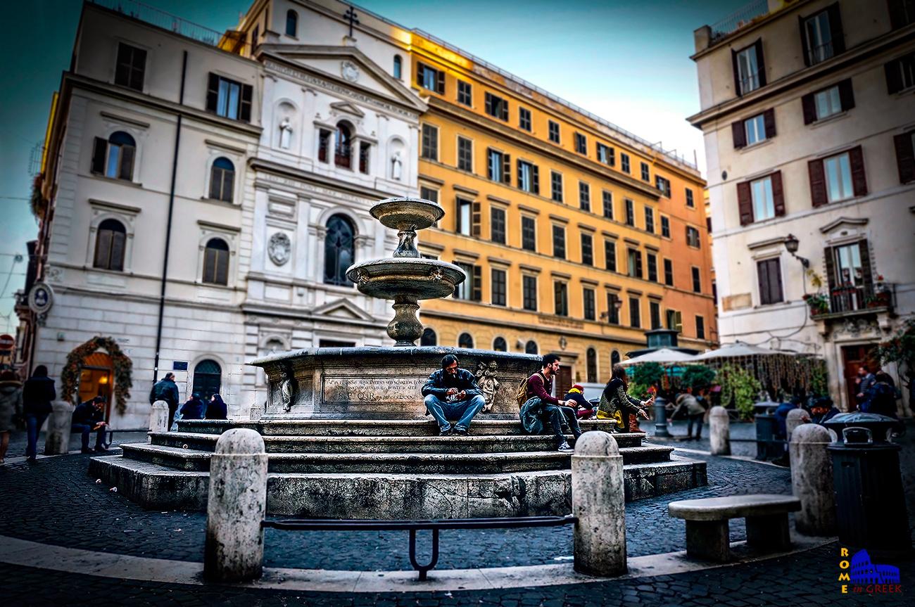 H κρήνη στην piazza della Madonna dei Monti. Ονομάζεται και «κρήνη των κατηχούμενων» (Giacomo Della Porta, 1589)