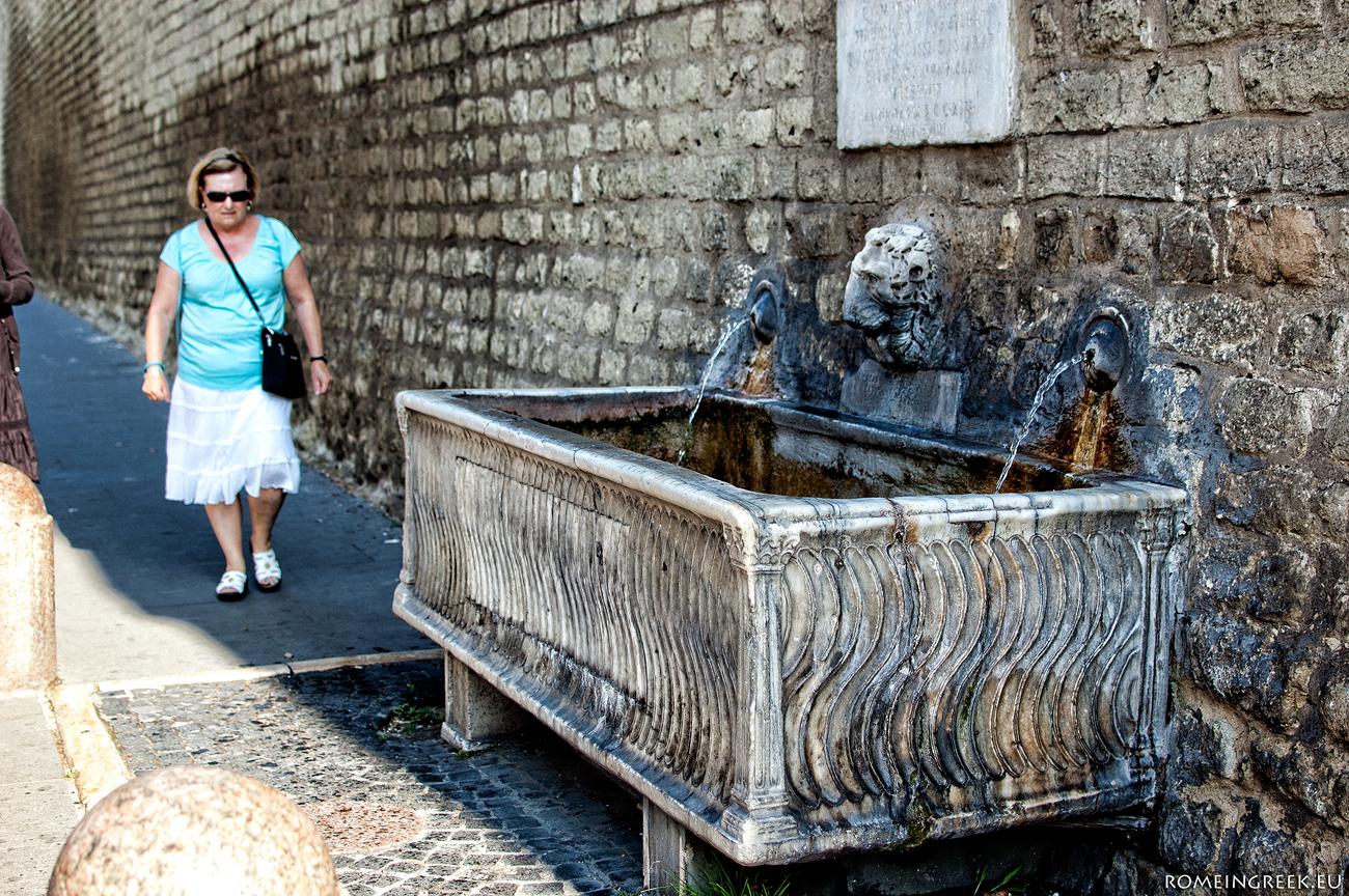Κρήνη με σαρκοφάγο κοντά στον Άγιο Πέτρο. Παρουσιάζει την κλασική διακόσμηση με σιγμοειδείς στλεγγίδες