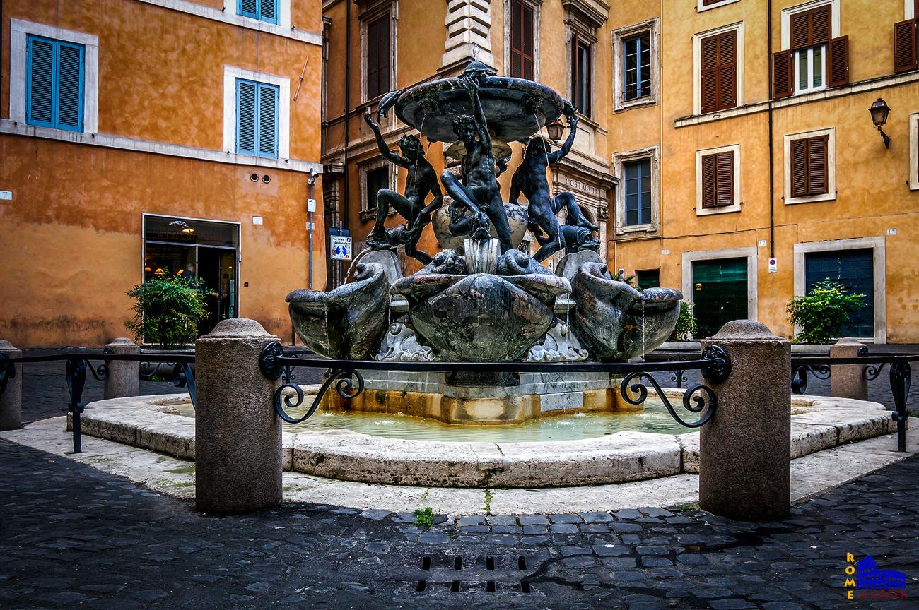 H Κρήνη των Χελωνών στην piazza Mattei (Giacomo della Porta, 1581).