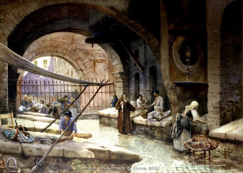 Η ψαραγορά στο Portico D'Ottavia στα μισά του 19ου αιώνα