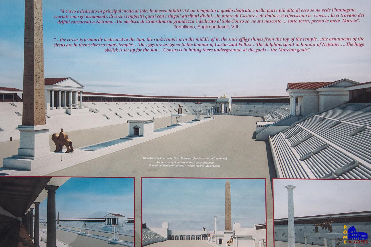 Αναπαράσταση του Circus Maximus. Στο βάθος το πέταλο με την αψίδα του Τίτου.
