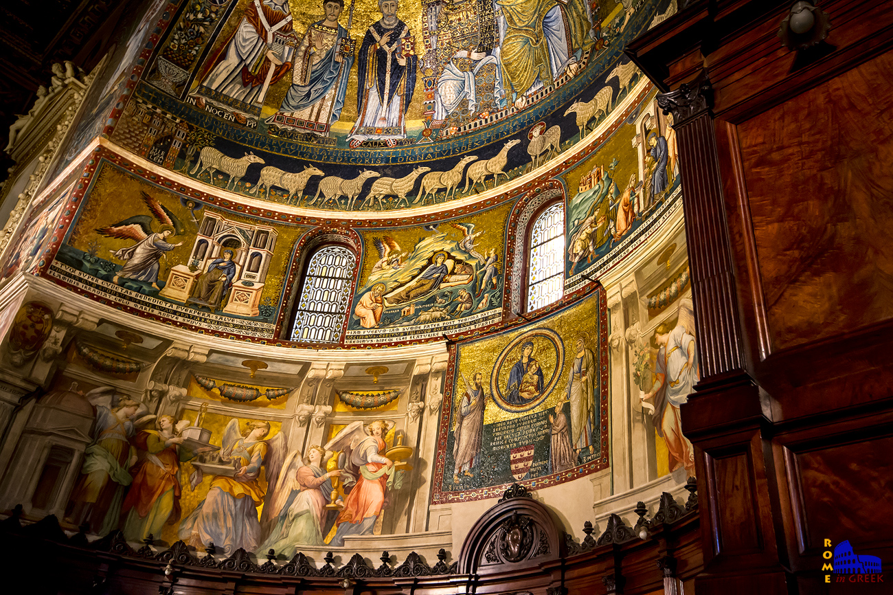 Τρεις σκηνές από τον βίο της Παναγίας του Cavallini. Είναι αξιοσημείωτο πως κάθε σκηνή φέρει και από μια «λεζάντα» (titulus).