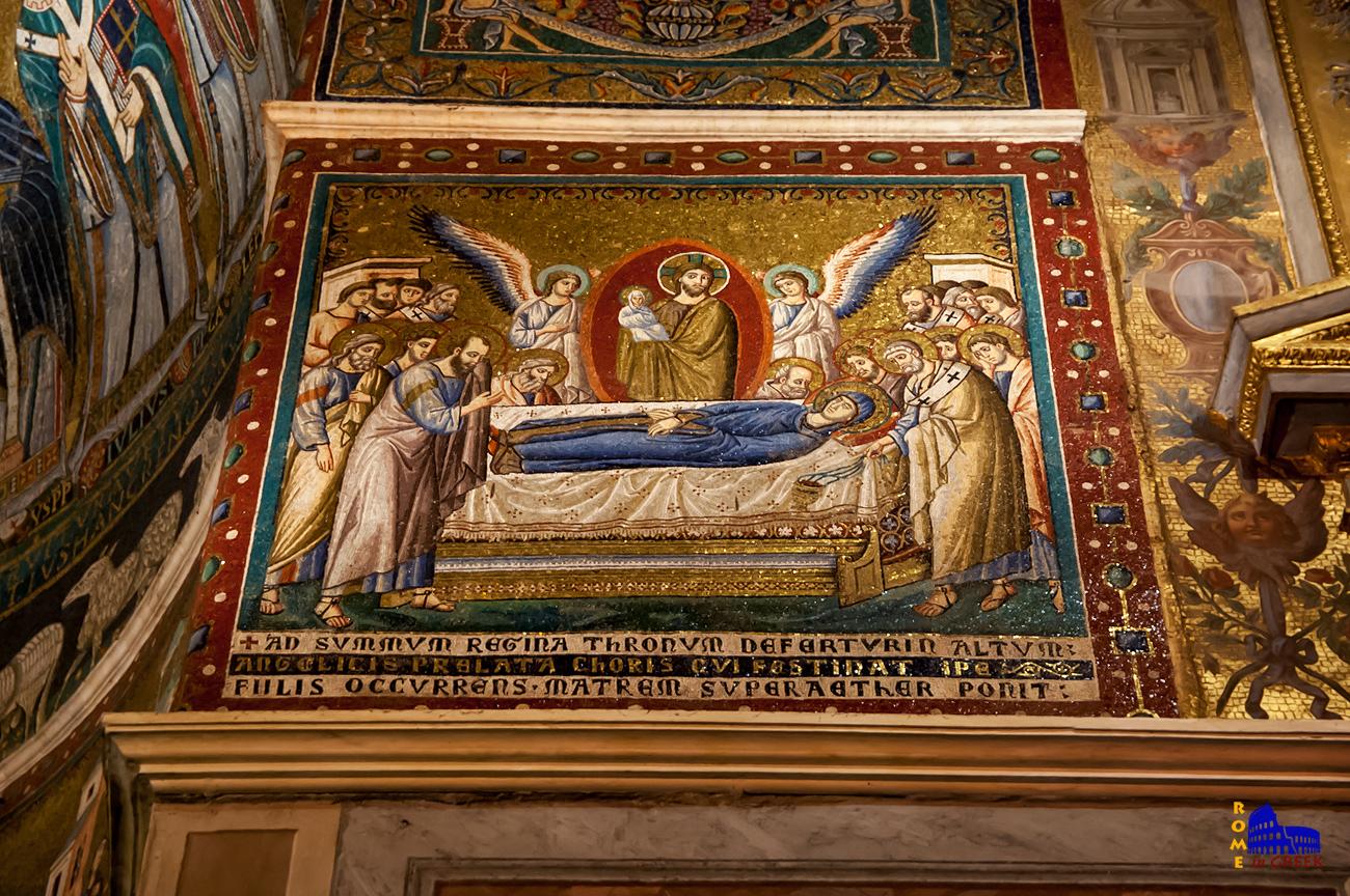 Pietro Cavallini, «Dormitio Verginis» (Κοίμησις της Παρθένου). Παρατηρήστε την ψυχή της Παναγίας , απεικονισμένη με λευκό ένδυμα, στην αγκαλιά του Χριστού.