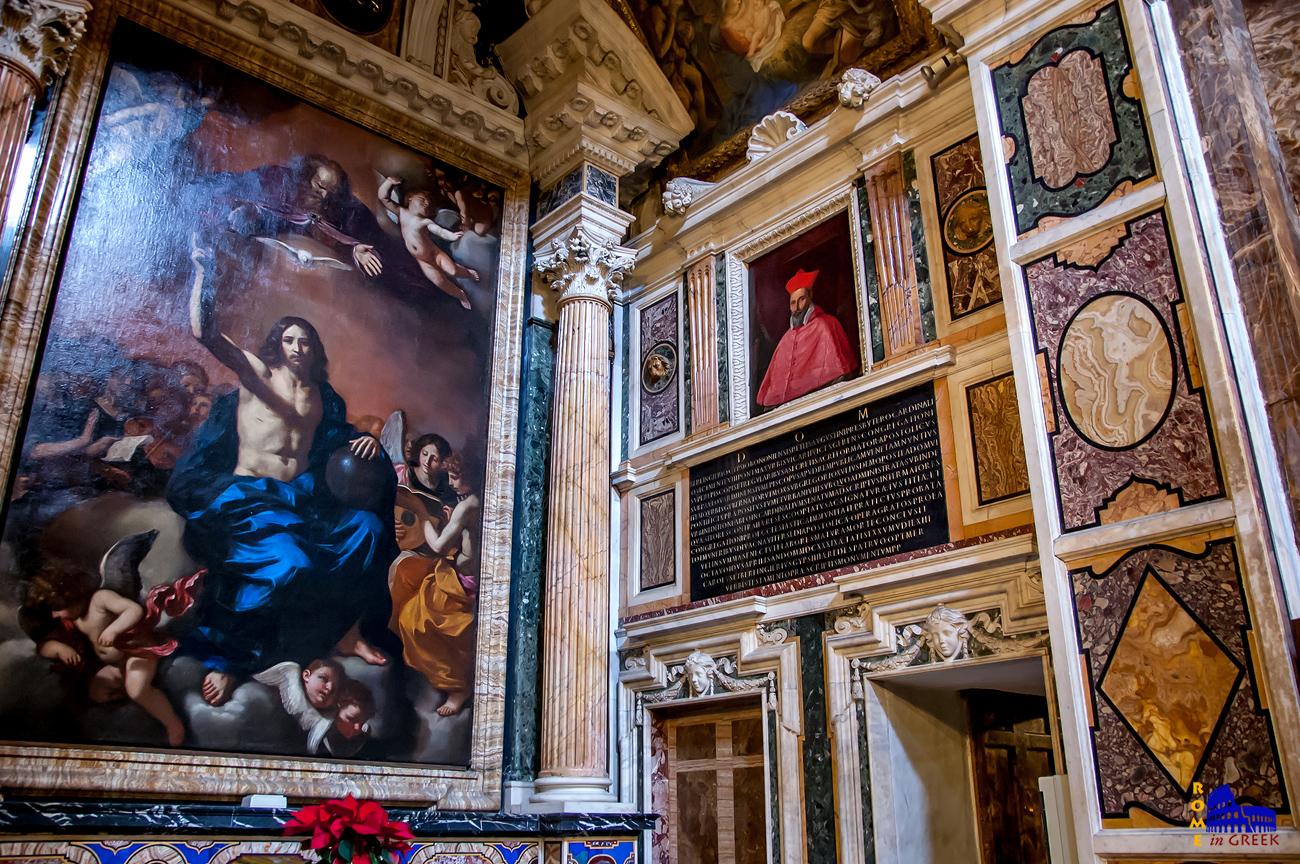 H «Αγία Τριάδα» του Guercino και δίπλα ο τάφος του καρδινάλιου Gessi, ένας από τους δικαστές που καταδίκασαν τον Γαλιλαίο.